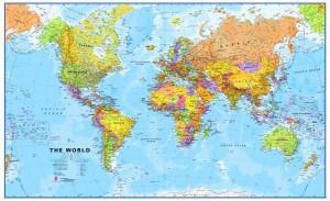 Gedetailleerde wereldkaart, engelstalig