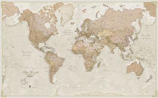 MI Wereldkaart staatkundig Antique Engels