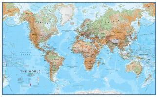 MI Wereldkaart natuurkundig Bruin