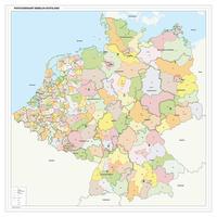 Postcodekaart Benelux+Duitsland 1- en 2-cijferig