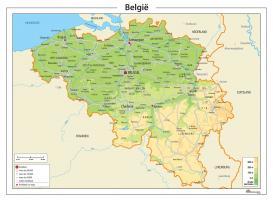 Digitale België Kaart Natuurkundig