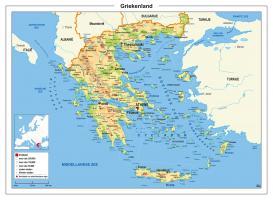 Griekenland Kaart Natuurkundig