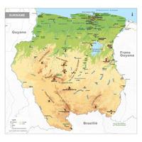 Natuurkundige kaart van Suriname