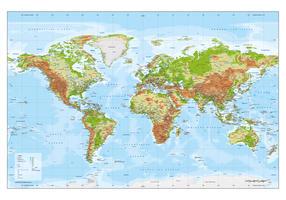 Wereldkaart Natuurkundig met reliëf ondergrond