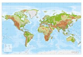 Digitale Wereldkaart XXL Natuurkundig met reliëf