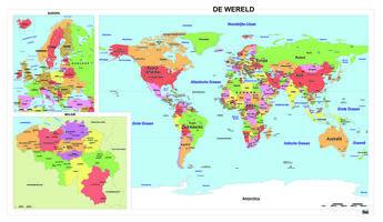 Schoolkaart Wereld/Europa/België
