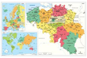 Schoolkaart België/Wereld/Europa