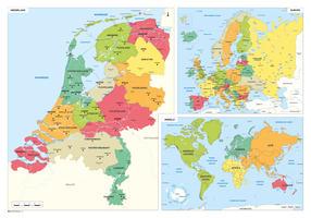 Schoolkaart Nederland, Europa en Wereld