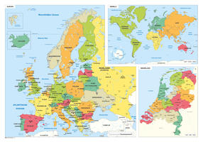 Schoolkaart Europa/Wereld/Nederland