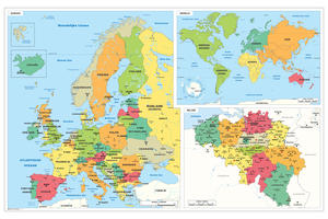 Schoolkaart Europa/Wereld/België