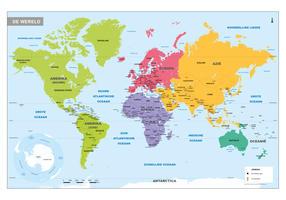 Eenvoudige wereldkaart met landen en hoofdsteden
