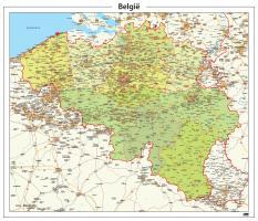 België kaart Staatkundig Gedetailleerd