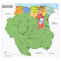 Staatkundige kaart Suriname