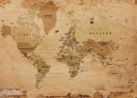 Wereldkaart in nostalgische kleuren afgebeeld
