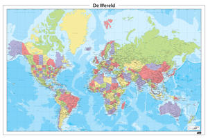 Nederlandstalige wereldkaart in heldere tinten