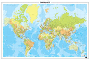 Zeer gedetailleerde, groen/geel getinte wereldkaart
