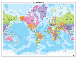 Wereldkaart Amerika centraal