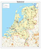 Kaart van Nederland met de hoogspaningslijnen