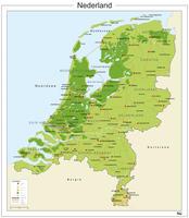 Natuurkundige kaart van Nederland