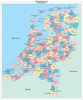 Kaart van Nederland met alle telefoon netnummer regio's