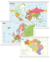 3 Schoolkaarten België/Europa/Wereld Gedetailleerd
