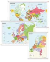 3 Schoolkaarten Nederland/Europa/Wereld Gedetailleerd
