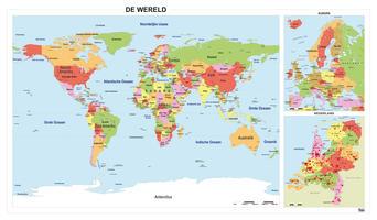 Staatkundige wereld schoolkaart combinatiekaart