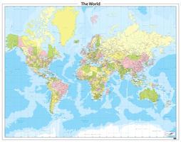 Staatkundige wereldkaart in heldere kleuren