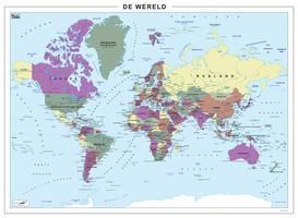 Staatkundige wereldkaart in paars, groen en geel tinten