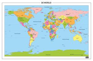 Staatkundige wereldkaart met frisse kleuren