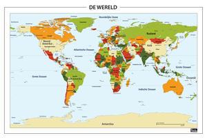 Staatkundige wereldkaart met oranje en groene tinten