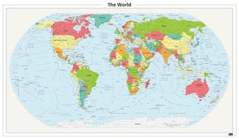 Staatkundige wereldkaart met afgeronde hoeken