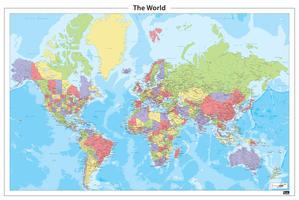 Staatkundige wereldkaart met veel plaatsen