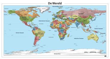 Staatkundige wereldkaart met gebergtes
