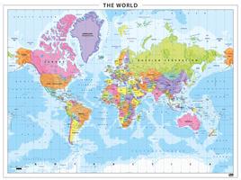 Staatkundige wereldkaart kleurrijk