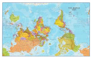 Upside down wereldkaart