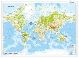 Natuurkundige wereldkaart met breuklijnen