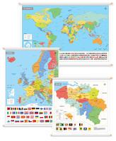 3 Schoolkaarten België/Europa/Wereld met vlaggen