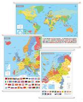 3 Schoolkaarten Nederland/Europa/Wereld met Vlaggen