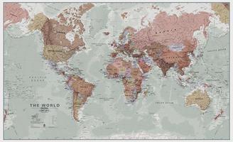 Wereldkaart Executive, vintage stijl