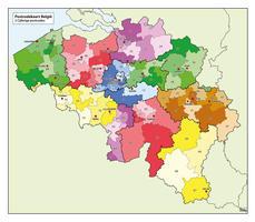 1- en 2-cijferige Postcodekaart België 750