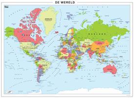 Staatkundige digitale wereldkaart met alle landen, hoofdsteden en wateren
