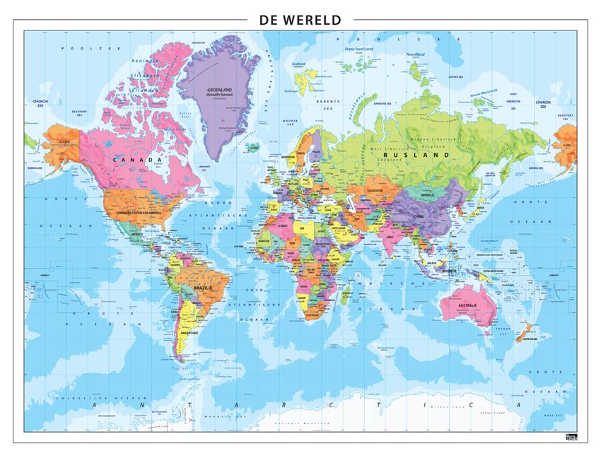 Wereldkaart Staatkundig 101 | Kaarten en Atlassen.nl WERELD KAART